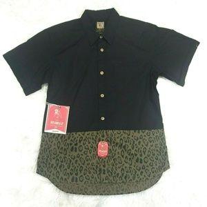 Prps Goods & Co Mens Black & Leopard Print Shirt